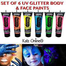 Katz 6 X Uv Brillo Cuerpo Gel pinturas Pintura 6x10ml Glow Rave Fiesta Brillante Halloween
