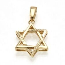 Vintage 14k yellow gold Woven Jewish Star of David Pendant thick sparkly Estate