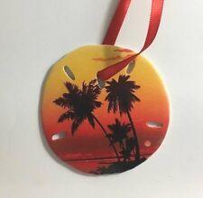 Sun Setting Palm Trees Christmas Sand Dollar Ornament