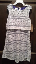 (NWT) Route 66 Girl's Size 7/8 Navy Sleeveless Dress With White Lace Overlay