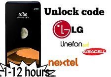 Unlock code Nextel Lg X Max X screen X Cam X Style G stylo premium