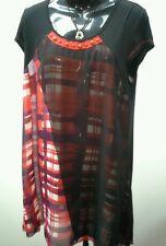 THREADZ Size M 12 Black Red Print Layer Top Red Button Neckline NWT RRP $99.95