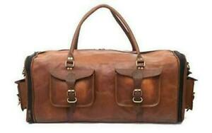 """Goat Leather Men Travel Bag Gym Luggage Genuine Duffle Vintage Brown New S 30"""""""