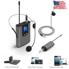 UHF Wireless Microphone Lavalier Lapel Mic Mini Receiver Transmitter Headset Set