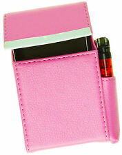 Pink Cigarette Hard Case Leather Lighter Smoke 100's Regular Holder Men Lady