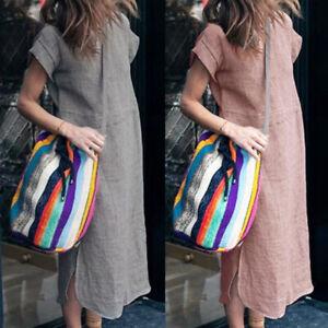 ZANZEA 8-24 Women Summer Plain Knee Length Sundress Short Sleeve Shift Dress