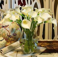 FD824 White Artificial Latex Calla Lily Flowers Bouquet Garden Home Wedding ~1PC