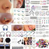 Women Fashion Rhinestone Crystal Nose Ring Bone Stud Body Piercing Jewelry Gift