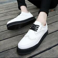 Vintage Mens Lace Up Wing Tip High Platform Creepers Brogue Oxfords Carved Shoes