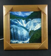 """VTG UNIQUE 10"""" WOOD FRAME MOVING WATERFALL LIGHTED MOTION PICTURE FREESTANDING"""