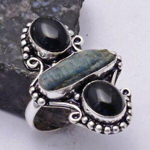 Kyanite Black Onyx Ethnic Handmade Ring Jewelry US Size-9 AR 41523