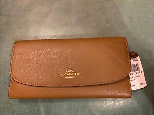 NWOT Coach Pebbled leather Wallet Tri-fold envelope Saddle 2 #16613