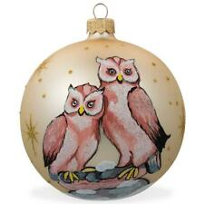 Two Owls Bird Glass Ball Christmas Ornament 4 Inches