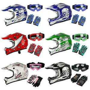 Youth Kids Motocross Helmet Child DOT ATV UTV MX OffRoad Goggles+Gloves 6 Colors