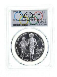 1995 Blind Runner Olympics $1 Silver Commem PR69 Spl Lbl 1 of 500 PCGS *0402