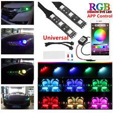 RGB Demon Devil Eyes LED Wireless App Control Car Bike Headlights Retrofit