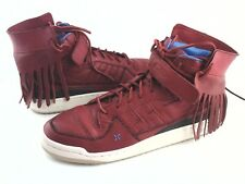 ADIDAS Shoes Mid High Leather Fringe Red Sneakers G48896  Men's US 11 EU 45 1/3