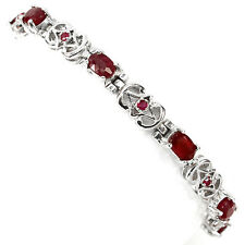 SUBLIME! OVAL,ROUND CUT TOP BLOOD RED,RICH RED PINK RUBY 925 SILVER BRACELET 7#