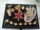 Job Lot Of Vintage Modern Gold Tone Jewellery Clock Necklace Faux Pearl Earrings