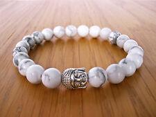 Handcrafted Semi Precious Stone Bracelet w/ White Howlite Beads & Silver Buddha