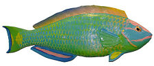 Chainsaw Carving Stoplight Parrotfish Carved Reef Fish Wrasse Tropical Art 1736
