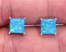 ***NEW** STERLING SILVER 925 BLUE LAB FIRE OPAL SQUARE  STUD Earrings 5x5mm