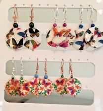 Butterfly Print Shell Earrings on Silver or Rose Gold Plated Ear Wires
