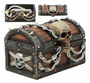 Evil Chained Skull On Pirate Treasure Chest Jewelry Box Figurine Halloween Decor