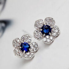 Elegant Women 925 Silver Sterling Crystal Flower Ear Studs Earrings Jewelry Gift
