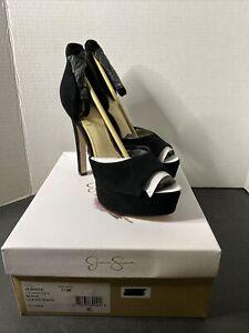 Jessica Simpson Women's Black Lux Kid Suede Peep Toe Heels Size US 7 1/2 NIB