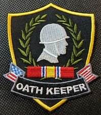 Veteran Oath Keeper Ribbon Embroidered Biker Patch