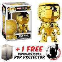 FUNKO POP MARVEL STUDIOS IRON MAN GOLD CHROME EXCLUSIVE + FREE POP PROTECTOR