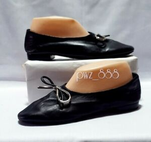 BALENCIAGA Black Leather Ballet Doll Shoes Size 38