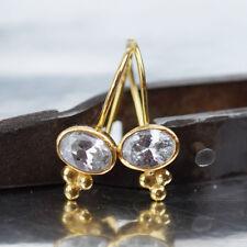 Omer 925 Sterling Silver Roman Art White Topaz Hook Earrings 24k Gold Vermeil