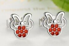 Cute 925 sterling silver plated diamante Minnie mouse stud earrings only £3.79