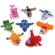 8Pcs TV Animation Super Wings Transforming Plane Mini Characters Toys kids 2017