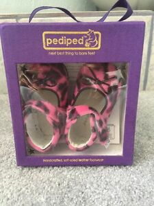 Pediped Baby Girl SIZE 0-6 Months Pink Black Animal Print Mary Jane Shoe New