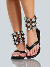 d069c1fdffe937 New Thong Open Toe Oversize Rhinestone Crystal Cage Ankle Strap Cuff Flat  Sandal