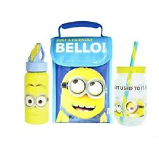 """DESPICABLE ME """" MINIONS """" KIDS INSULATED LUNCH BAG / MASON JAR / DRINK BOTTLE"""