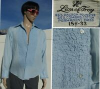 vtg 70's LION OF TROY ruffled tuxedo PROM shirt powder blue butterfly collar MED