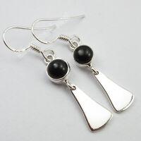 """Art SilverStarJewel Jewelry 925 Sterling Silver Black Onyx Hook Earrings 1.6"""""""