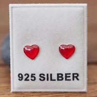 Neu 925 Silber OHRSTECKER mit HERZ in rot OHRRINGE HERZCHEN Heart EMAILLE