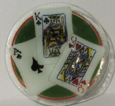 """Vintage Peggy Karr Fused Art Glass Playing Cards 8.5"""" Diam.  Bowl, Mint"""