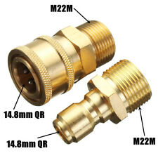 "1 Pair 14.8MM Quick Release Adapter 3/8"" M22 Coupling Connector Pressure Washer"