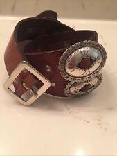 Rare Vintage Lauren Ralph Lauren Wide Brown Genuine Leather Concho Belt Size S