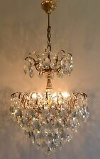 Real Barn Find Spider Style Vintage Brass & Crystals Chandelier Antique Lamp