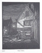 PEAS HILL - CAMBRIDGE COLLEGE LIMITED WOODCUT PRINT / WOOD ETCHING - GREENWOOD