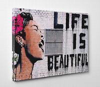 X Large Life Is Beautiful Banksy Women Graffiti Canvas Print Wall Art A1 A2 A3