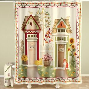 Charming Country His and Hers Outhouse Bathroom Fabric Shower Curtain
