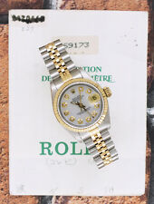 Ladies White Mother of Pearl Diamond Dial Steel & Gold Rolex Datejust.